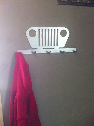 Jeep grille coat rack